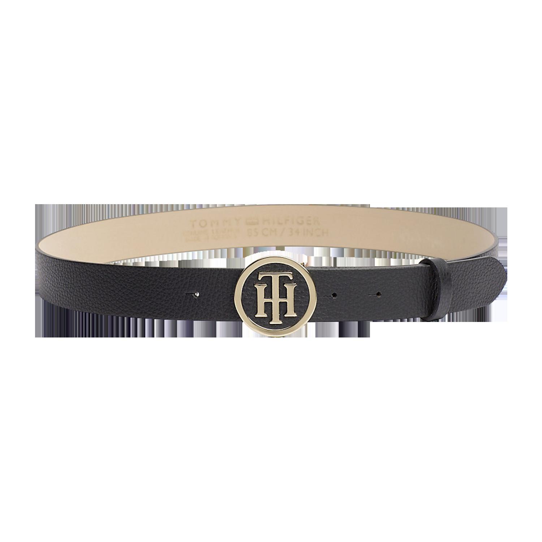 Tommy Hilfiger TH Round Buckle Belt 3.0 Black schwarz Ledergürtel Damengürtel