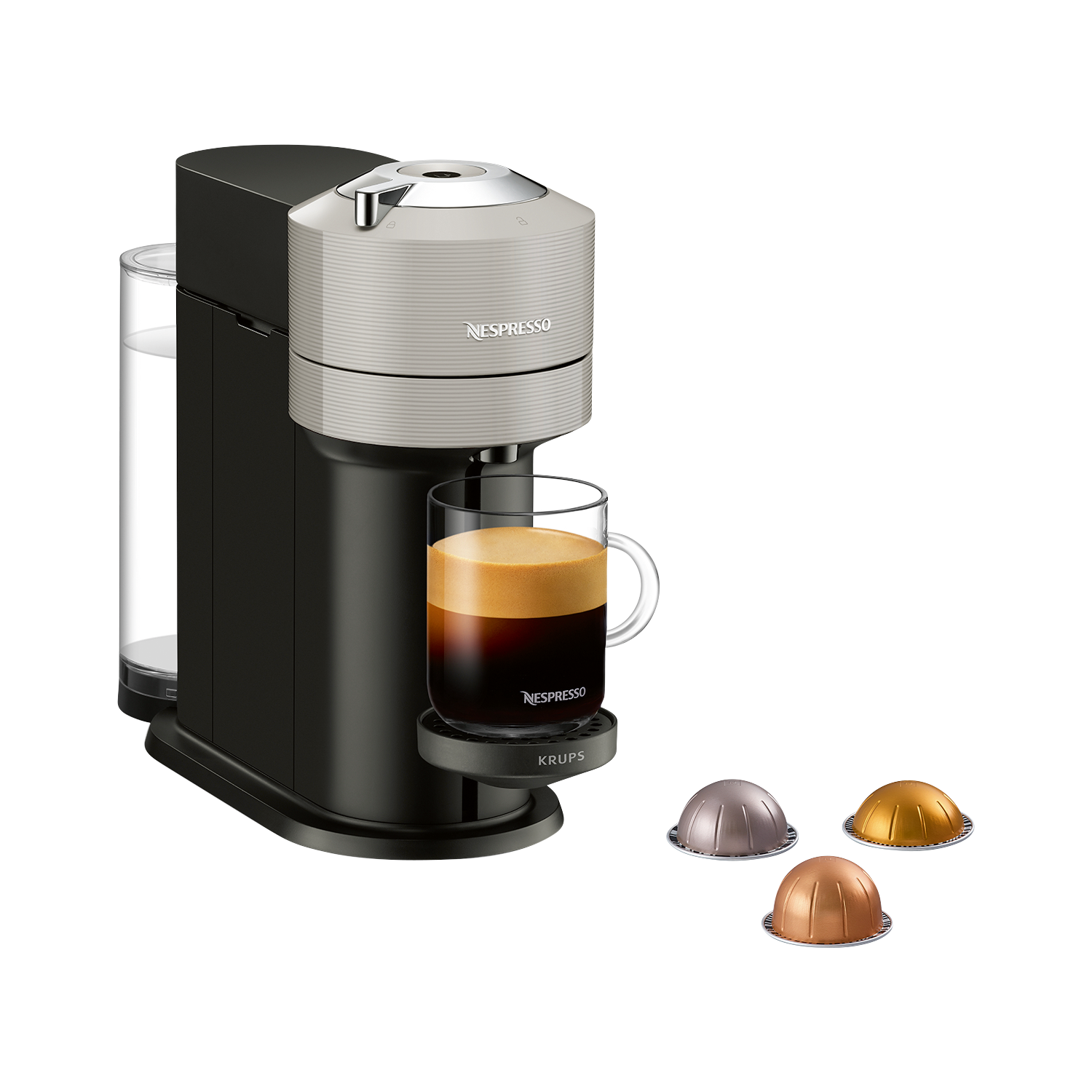 Krups Nespresso Vertuo Next Kapselmaschine, Light Grey
