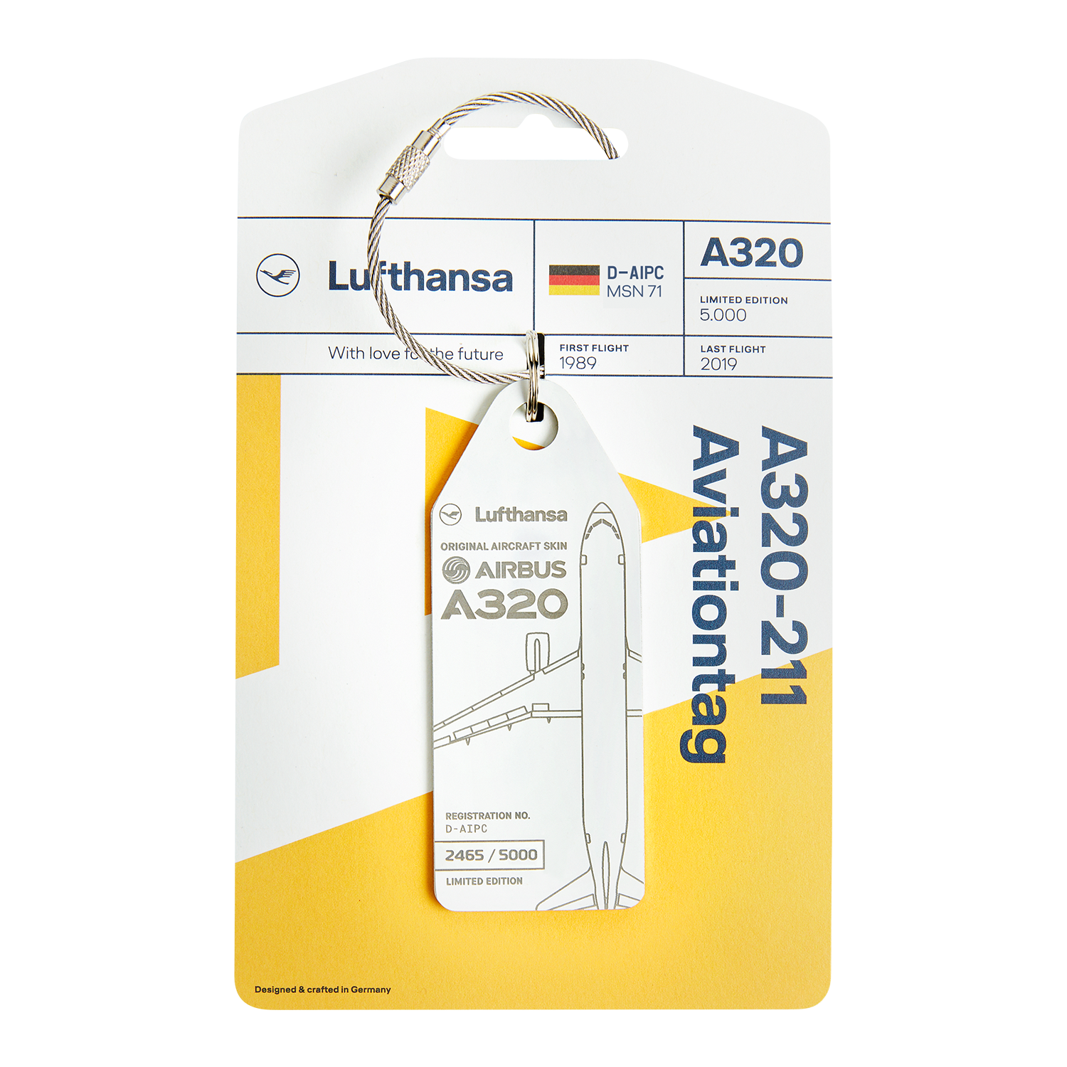Lufthansa Upcycling Collection A320-211 D-AIPC Aviationtag, Weiß