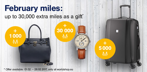 February miles: up to 30,000 extra miles as a gift