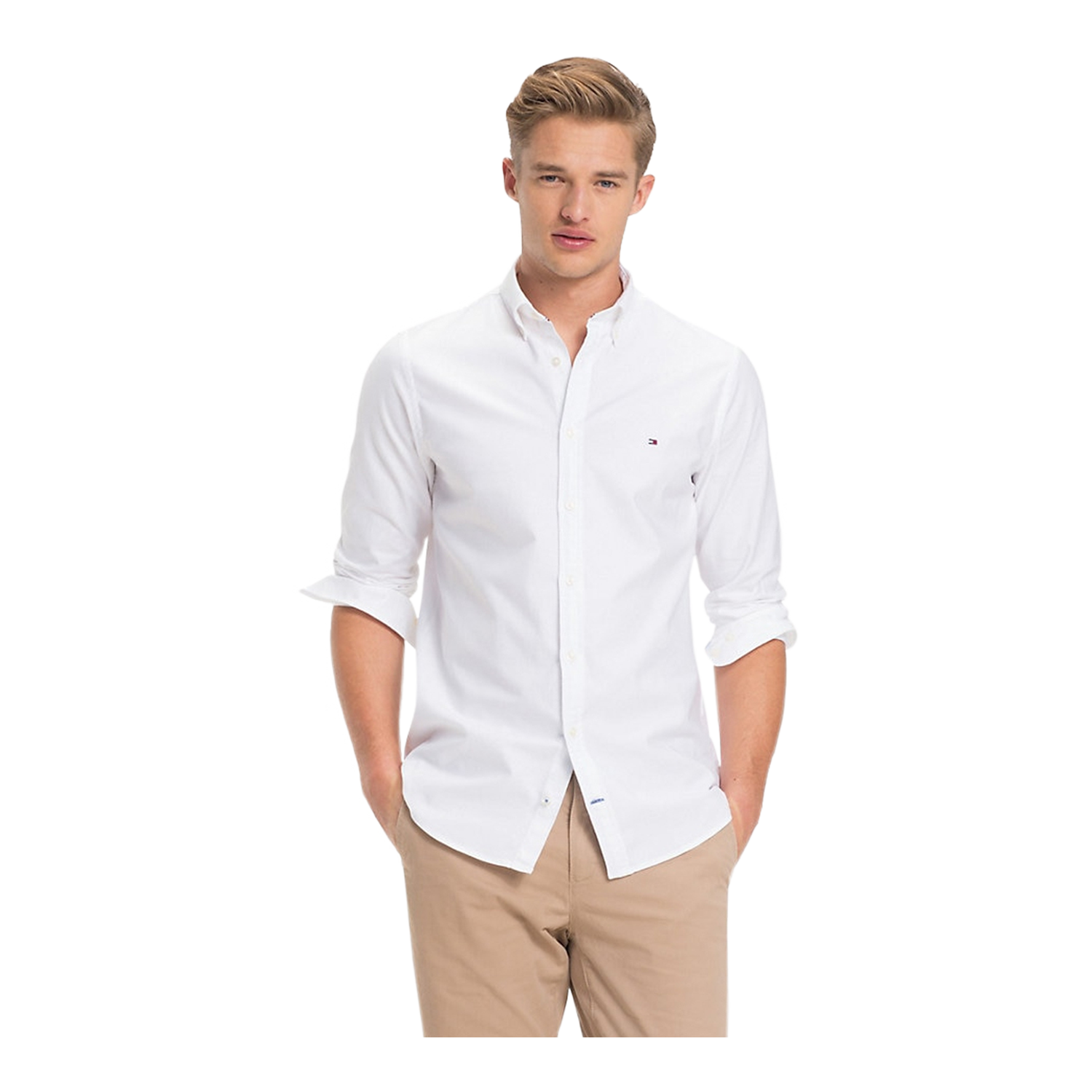 Tommy Hilfiger Core Stretch Slim Oxford Herren Hemd, Langarm, Bright White