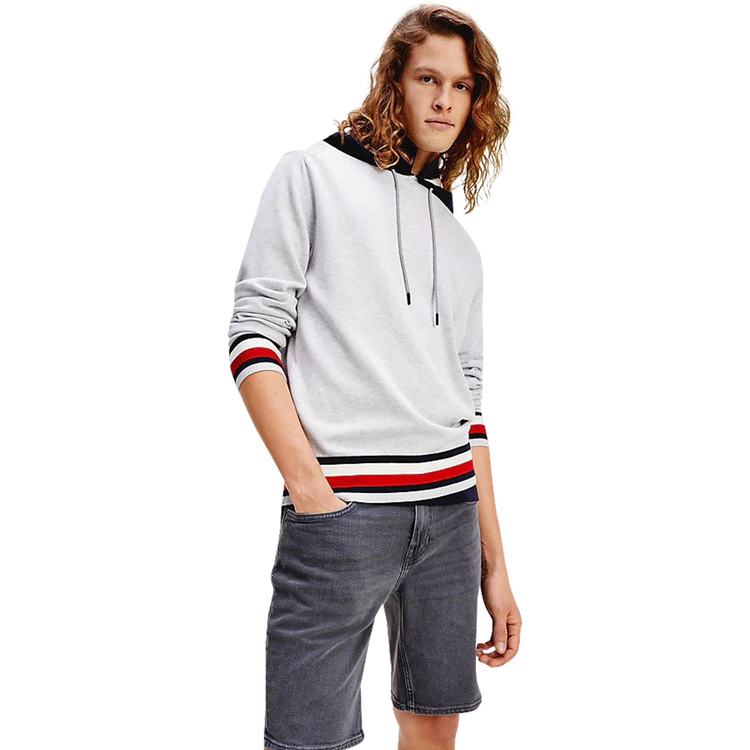 Tommy Hilfiger Global Stripe Detail Hoodie Kapuzenpullover, Herren, Ice Heather
