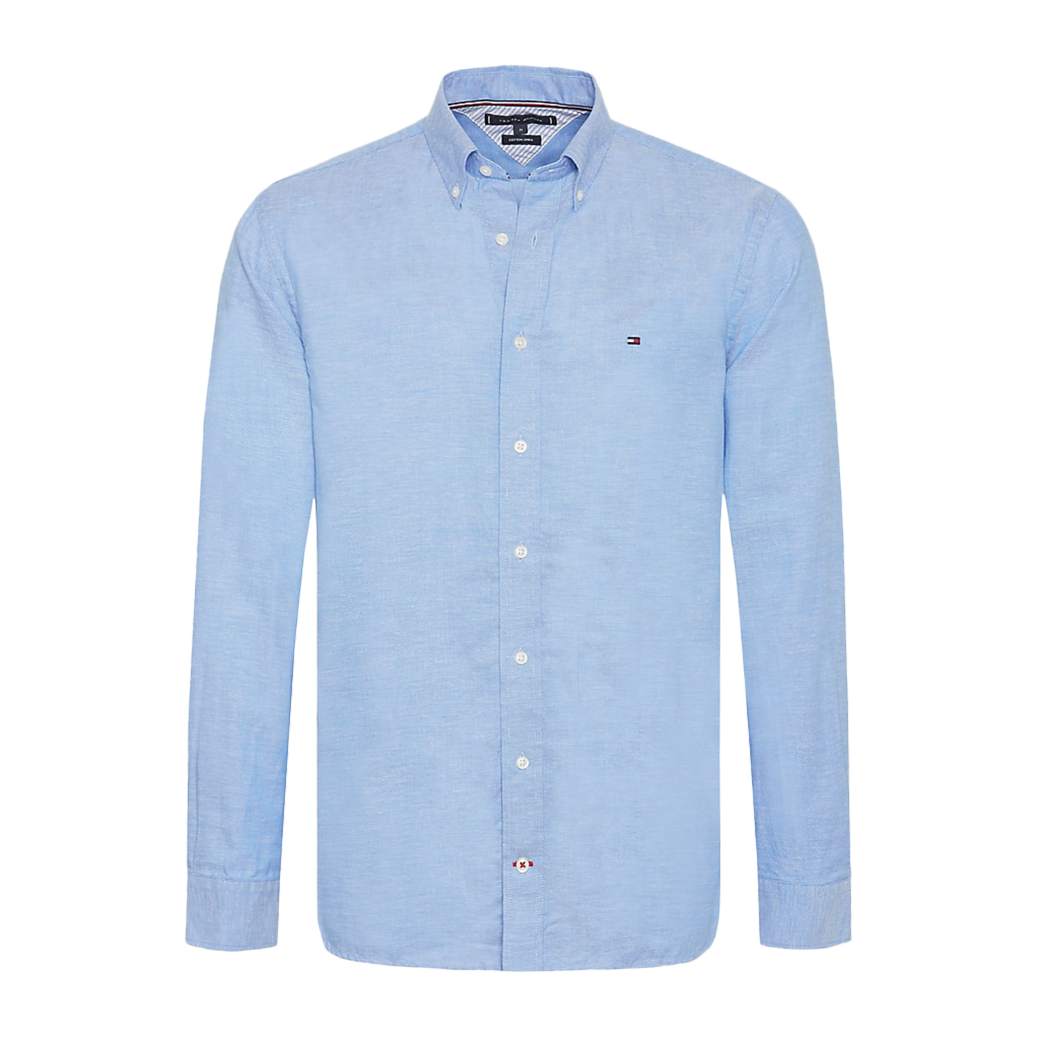 Tommy Hilfiger Dobby Chemise homme coton et lin, manches