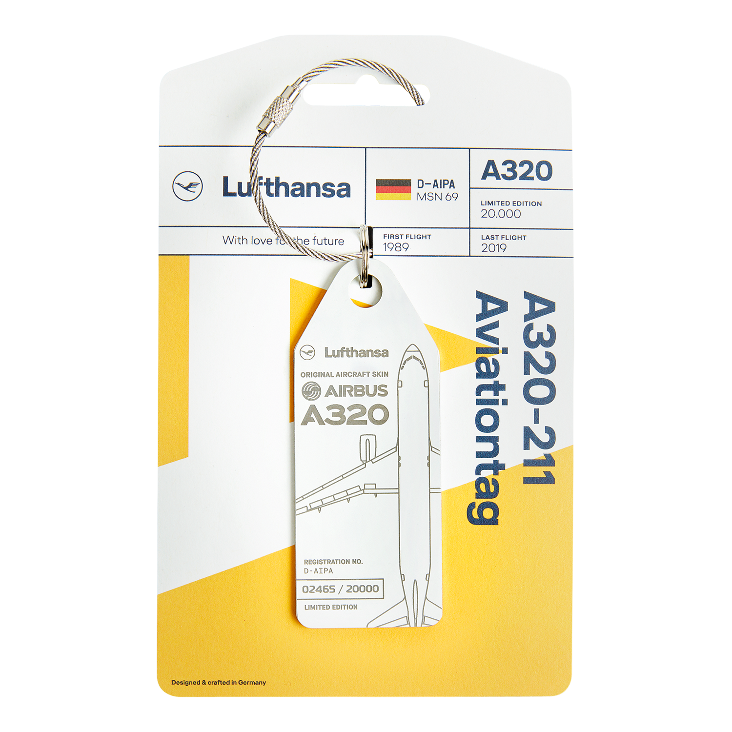 Lufthansa Upcycling Collection A320-211 D-AIPA Aviationtag, Weiß